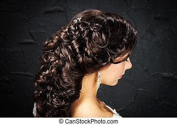 美しい, 花嫁, ファッション, hair-style, 結婚式