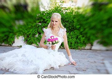 美しい, 花嫁, ポーズを取る