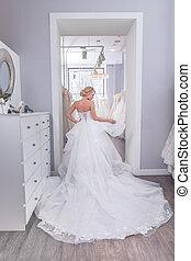 美しい, 花嫁, 店, 結婚式