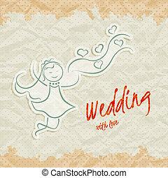 美しい, 花嫁, 招待, カード, 結婚式
