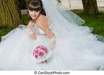 美しい, 花嫁, 服, 結婚式