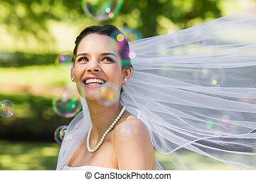 美しい, 花嫁, 見る, bub, 石鹸