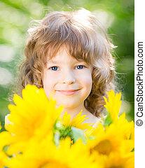 美しい, 花束, ひまわり, 子供