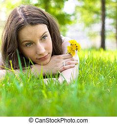 美しい, 花束, ティーネージャー, 若い, タンポポ