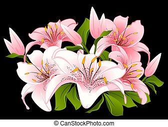 美しい, 花束, ユリ