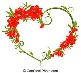美しい, 花束, ユリ, 心