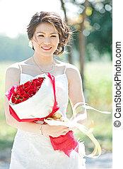 美しい, 花束, 屋外で, 花嫁, バラ