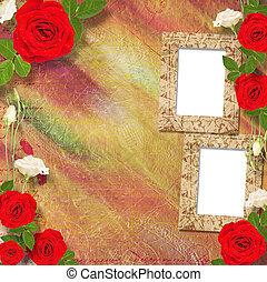 美しい, 花束, 挨拶, ばら, レッドカード
