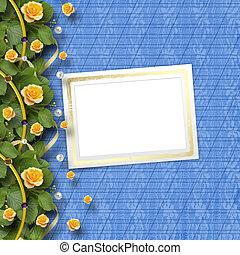 美しい, 花束, 挨拶, 黄色のバラ, カード