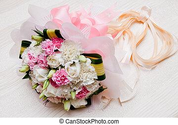 美しい, 花束, 結婚式, 新たに, 白い花, 赤