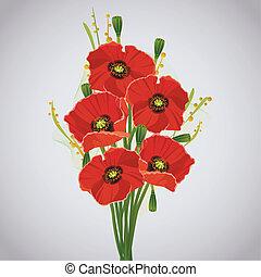 美しい, 花束, celebratory, 赤, ケシ