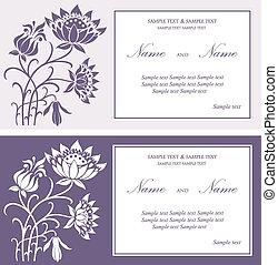 美しい, 花, カード, 招待