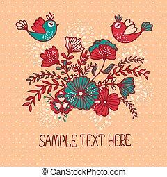 美しい, 花, グリーティングカード