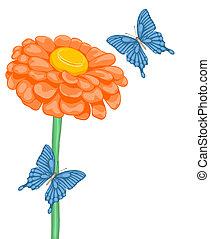美しい, 花, スペース, テキスト, 蝶, 背景, ヒナギク