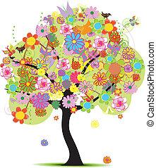 美しい, 花, ベクトル, 木