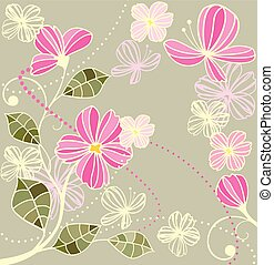 美しい, 花, レトロ, カード