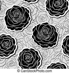 美しい, 花, レース, スペース, テキスト, corner., モノクローム, 黒, 白, あなたの