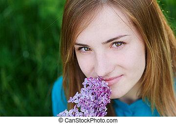 美しい, 花, 女, ライラック, 手