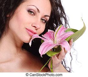 美しい, 花, 女