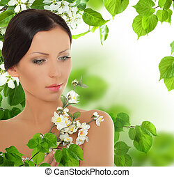 美しい, 花, 女, 若い, 春
