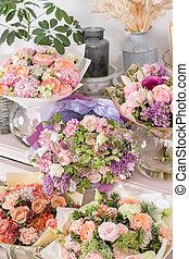 美しい, 花, 家族, shop., 春, コピー, ショーケース, スペース, business., 仕事, 混合, flowers., 整理, 小さい, florist., bouquets.