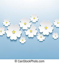 美しい, 花, 抽象的, sakura, 背景, 花, 3d