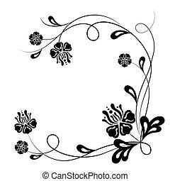 美しい, 花, 白, 黒い背景