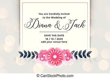 美しい, 花, 結婚式, デザイン, 招待, カード