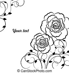 美しい, 花, 黒, パターン