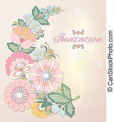 美しい, 花, eps10, card., 招待