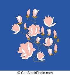 美しい, 花, illustration., ベクトル, 要素