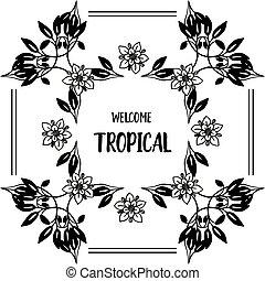 美しい, 花, wellcome, フレーム, イラスト, トロピカル, ベクトル, カード