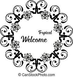 美しい, 花, wellcome, フレーム, イラスト, 執筆, トロピカル, 様々
