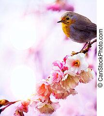 美しい, 芸術, 自然, 春, 朝, 背景