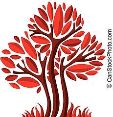美しい, 芸術, eco, 季節, イメージ, 洞察力, シンボル。, イラスト, 定型, 木, 考え, ベクトル, picture., 妖精