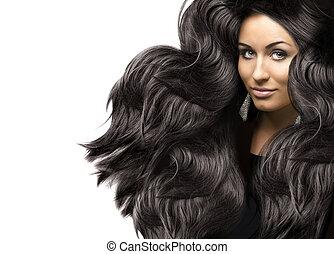 美しい, 若い女性, ∥で∥, 健康, 巻き毛, 長い間, 光沢がある, 毛