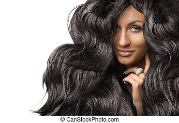 美しい, 若い女性, ∥で∥, 健康, 長い間, 光沢がある, 巻き毛の髪