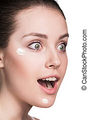 美しい, 若い女性, ∥で∥, 化粧品クリーム