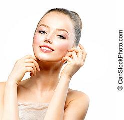 美しい, 若い女性, ∥で∥, 新たに, きれいにしなさい, 皮膚, 感動的である, 彼女, 顔