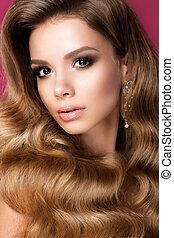 美しい, 若い女性, ∥で∥, 長い間, 巻き毛の髪