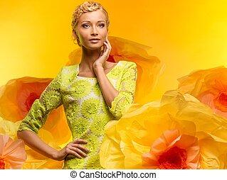 美しい, 若い女性, の中, 大きい, 黄色の花