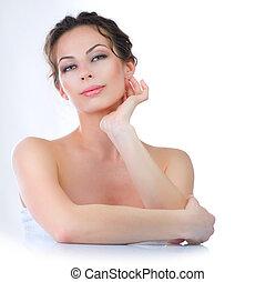 美しい, 若い女性, 感動的である, 彼女, face., skincare
