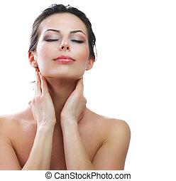 美しい, 若い女性, 感動的である, 彼女, face., skincare., 完全な皮