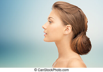 美しい, 若い女性, 顔, 上に, 青い背景