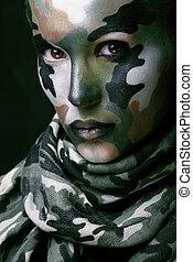 美しい, 若い, ファッション, 女, ∥で∥, 軍, スタイル, 衣類, そして, 表面 ペンキ, メーキャップ,...