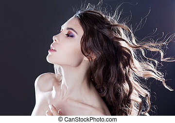 美しい, 若い, ブルネット, 女の子, ∥で∥, 長い間, 波状, hair., 巻き毛, ヘアスタイル