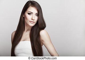 美しい, 若い, ブルネット, 女, ∥で∥, 長い髪
