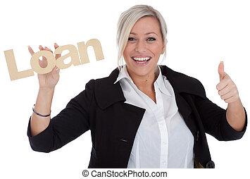 美しい, 若い, 女性実業家, ある, 幸せ, ∥で∥, ローン