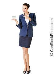 美しい, 若い, 女性実業家, 保有物, 家, モデル, 上に, 白, -, 不動産, ローン, 概念
