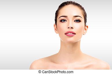 美しい, 若い, 女性, ∥で∥, きれいにしなさい, 新たに, 皮膚